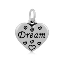 -16mm Stainless Steel Heart Charm, Dream, Antique Silver