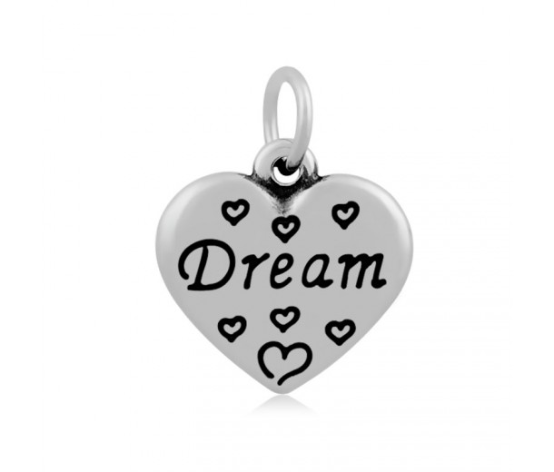 16mm Stainless Steel Heart Charm, Dream, Antique Silver