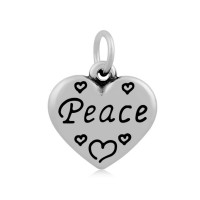 16mm Stainless Steel Heart Charm, Peace, Antique Silver