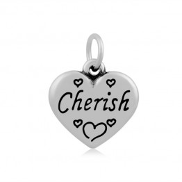 16mm Stainless Steel Heart Charm, Cherish, Antique Silver