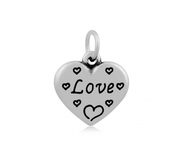 16mm Stainless Steel Heart Charm, Love, Antique Silver