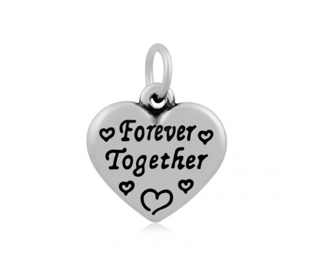 16mm Stainless Steel Heart Charm, Forever Together, Antique Silver