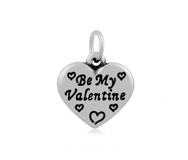 16mm Stainless Steel Heart Charm, Be My Valentine, Antique Silver