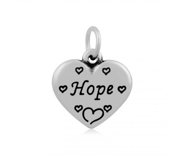 16mm Stainless Steel Heart Charm, Hope, Antique Silver