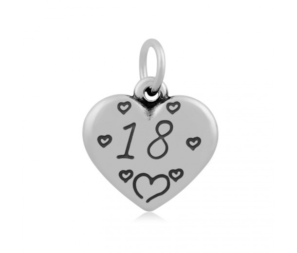 16mm Stainless Steel Heart Charm, Number 18, Antique Silver