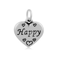 16mm Stainless Steel Heart Charm, Happy, Antique Silver
