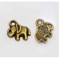 11mm Small Elephant Charms, Antique Brass, Pack of 5