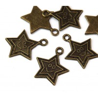 24mm Smiling Star Charms, Antique Brass