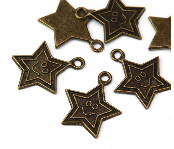 24mm Smiling Star Charms, Antique Brass, Pack of 5