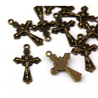 23mm Rosary Cross Charms, Antique Brass, Pack of 5