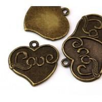 25mm Love Heart Pendant, Antique Brass