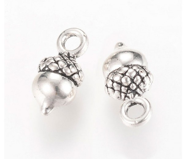 14mm Small Acorn Charms, Antique Silver, Pack of 10