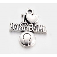 21mm I Love Baseball Charms, Antique Silver