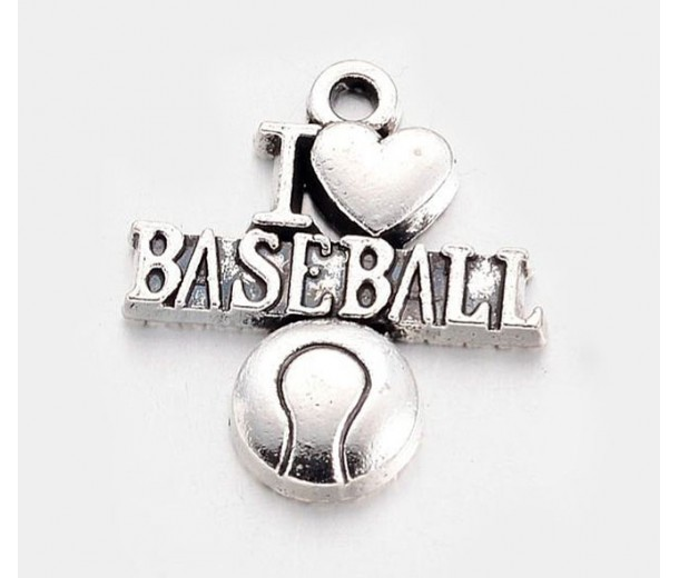 21mm I Love Baseball Charms, Antique Silver, Pack of 5