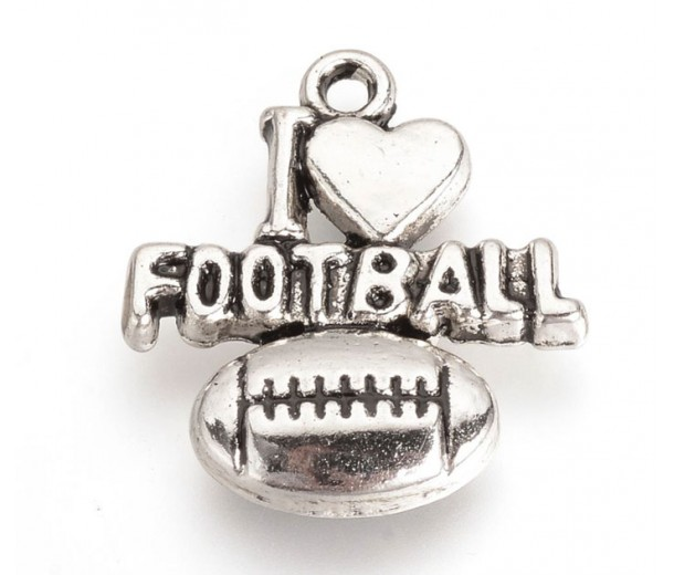 21mm I Love Football Charms, Antique Silver