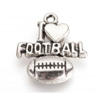 21mm I Love Football Charms, Antique Silver, Pack of 5