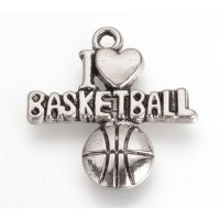 22mm I Love Basketball Charms, Antique Silver