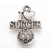 22mm I Love Soccer Charms, Antique Silver, Pack of 5