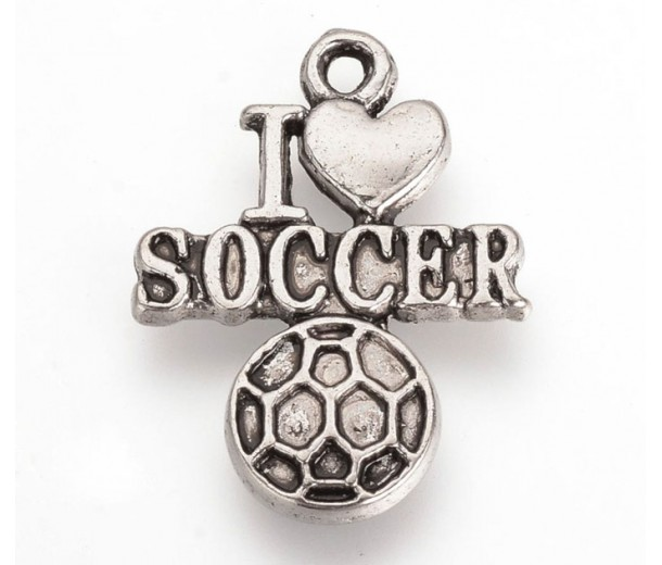 22mm I Love Soccer Charms, Antique Silver