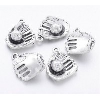 17mm Baseball Glove Charms, Antique Silver, Pack of 5