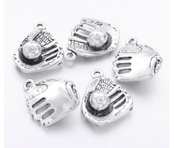 17mm Baseball Glove Charms, Antique Silver