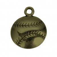 18mm Medium Baseball Charms, Antique Brass, Pack of 5