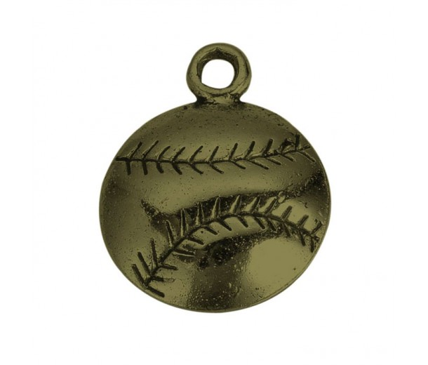18mm Medium Baseball Charms, Antique Brass