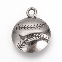 18mm Medium Baseball Charms, Antique Silver, Pack of 5