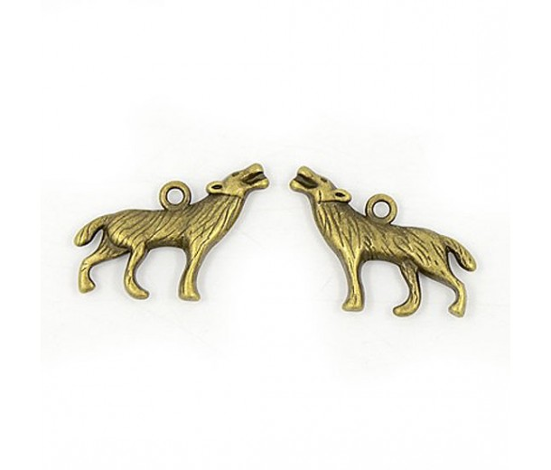 18x26mm Howling Wolf Charms, Antique Brass