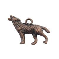 18x26mm Howling Wolf Charms, Antique Copper, Pack of 5