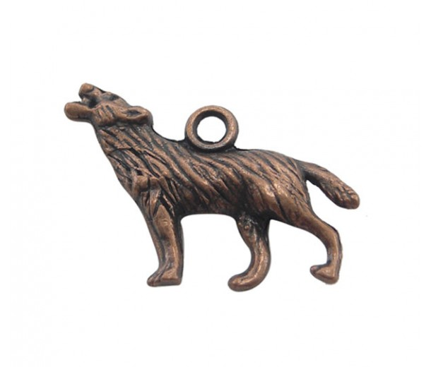 18x26mm Howling Wolf Charms, Antique Copper