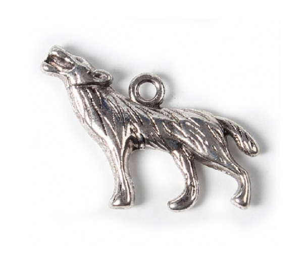 18x26mm Howling Wolf Charms, Antique Silver