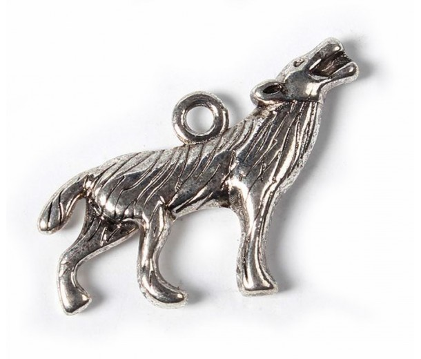 18x26mm Howling Wolf Charms, Antique Silver, Pack of 5