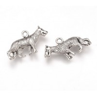 14x24mm Medium Wolf Charms, Antique Silver, Pack of 5