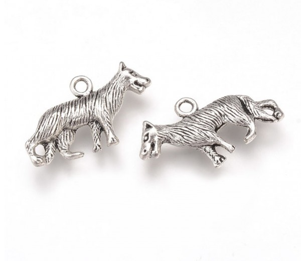 14x24mm Medium Wolf Charms, Antique Silver