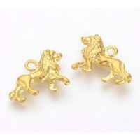 15x21mm Regal Lion Pendant Charm, Gold Tone, 1 Piece