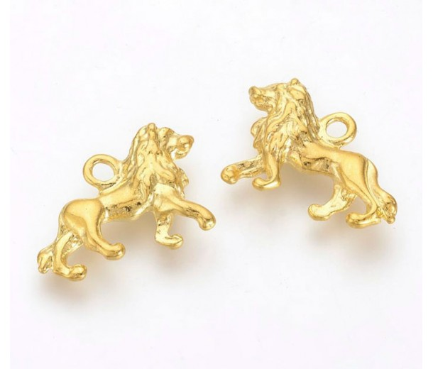 15x21mm Regal Lion Pendant Charms, Gold Tone