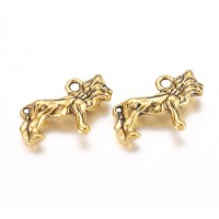 16x23mm Standing Lion Pendant Charms, Antique Gold, Pack of 5