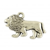18x29mm Walking Lion Pendant Charms, Antique Silver, Pack of 5