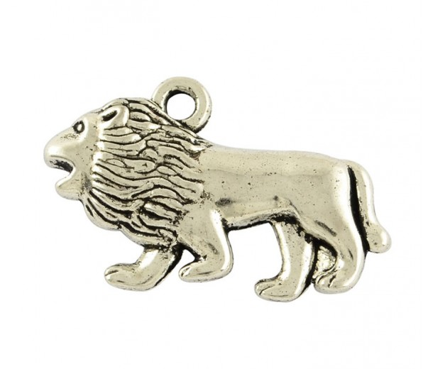 18x29mm Walking Lion Pendant Charms, Antique Silver