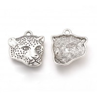 18x20mm Leopard Head Flat Charms, Antique Silver, Pack of 5