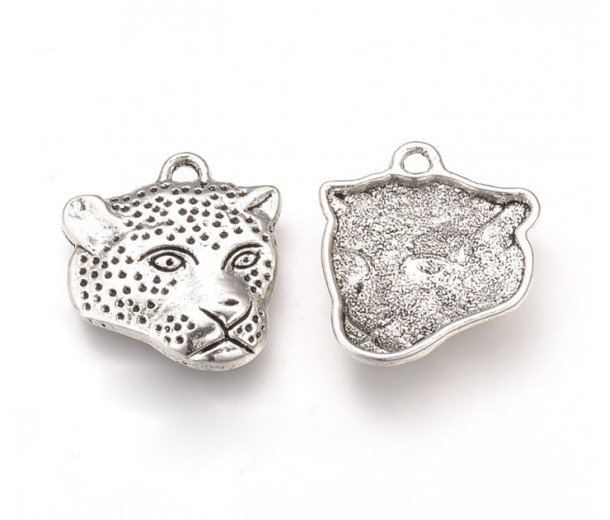 18x20mm Leopard Head Flat Charms, Antique Silver