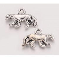 11x18mm Walking Leopard Charms, Antique Silver, Pack of 10