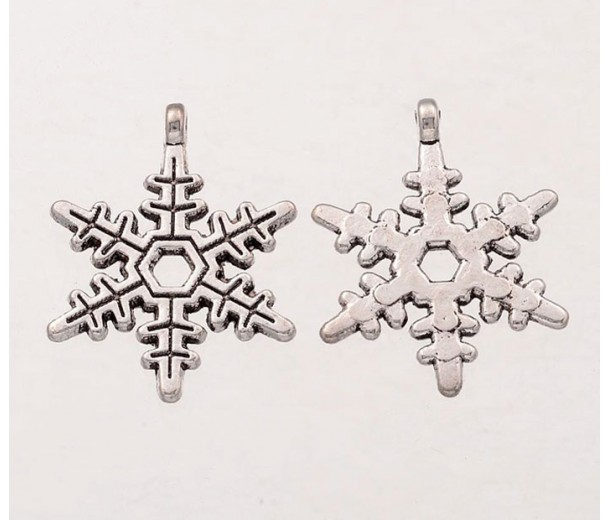 24mm Electric Snowflake Charms, Antique Silver, Pack of 5