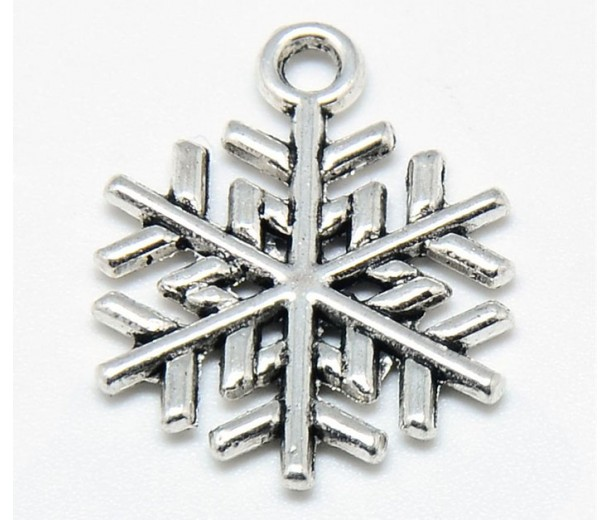 20mm Pine Tree Snowflake Charms, Antique Silver, Pack of 5