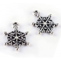 19mm Webby Snowflake Charms, Antique Silver, Pack of 5