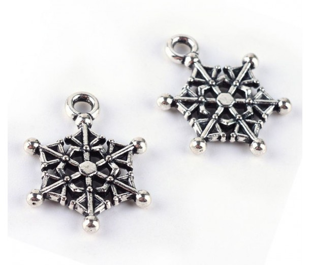 19mm Webby Snowflake Charms, Antique Silver