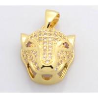 19mm Leopard Head Cubic Zirconia Pendant, Gold Tone
