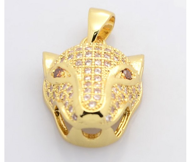 19mm Leopard Head Cubic Zirconia Pendant, Gold Tone