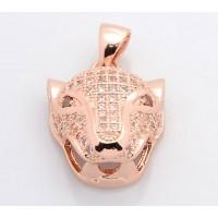 19mm Leopard Head Cubic Zirconia Pendant, Rose Gold Tone